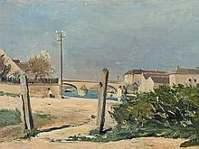 Fernand Piet, Townscape with River, Oil Painting, 1894