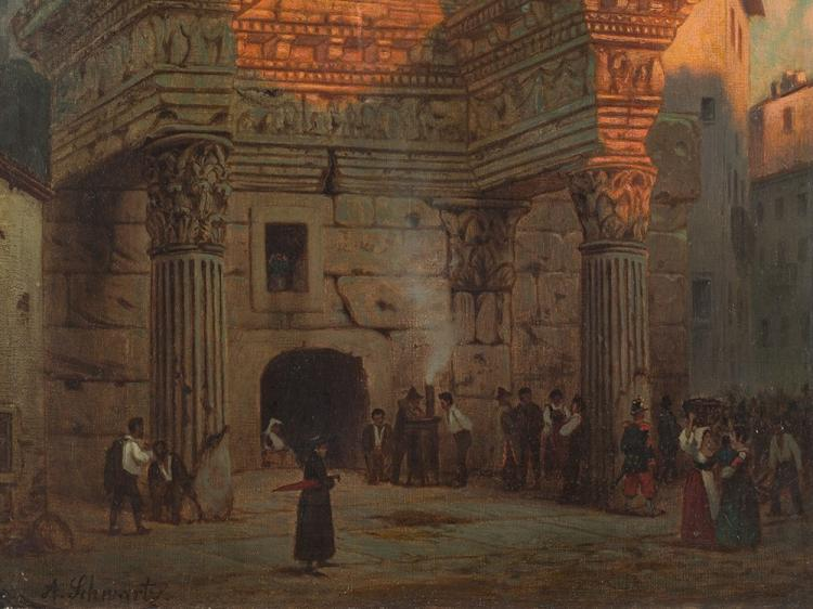 Albert Gustav Schwartz, Minerva Temple in Rom, 2nd H. 19th C.