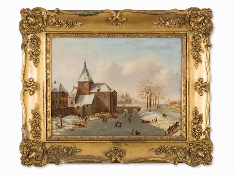 Monogrammist 'F.W.C.', Ice Skaters, Oil Painting, 19th C