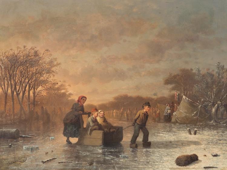 Johann Mongel Culverhouse, Ice Skating in Delft, 1855