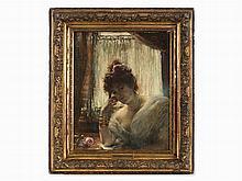 Édouard Richter, Female Portrait, Oil, 1870s
