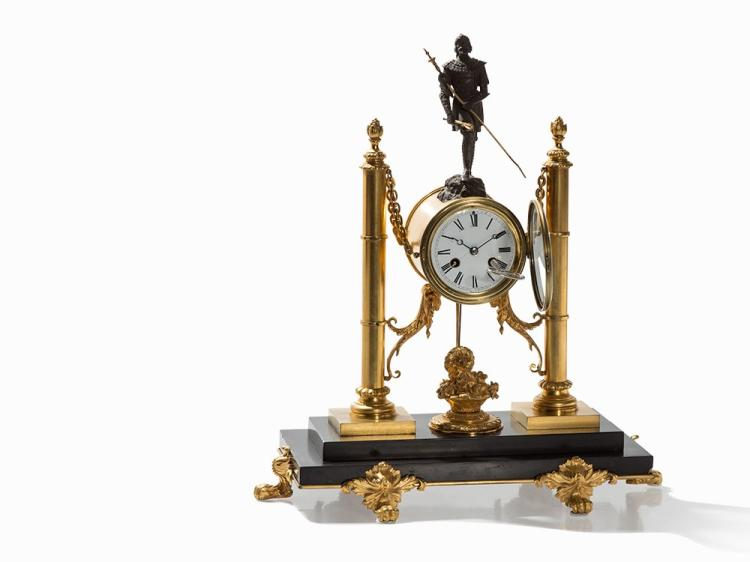 A Rare Figural Mantel Clock with Male Warrior, Paris, 19th C.