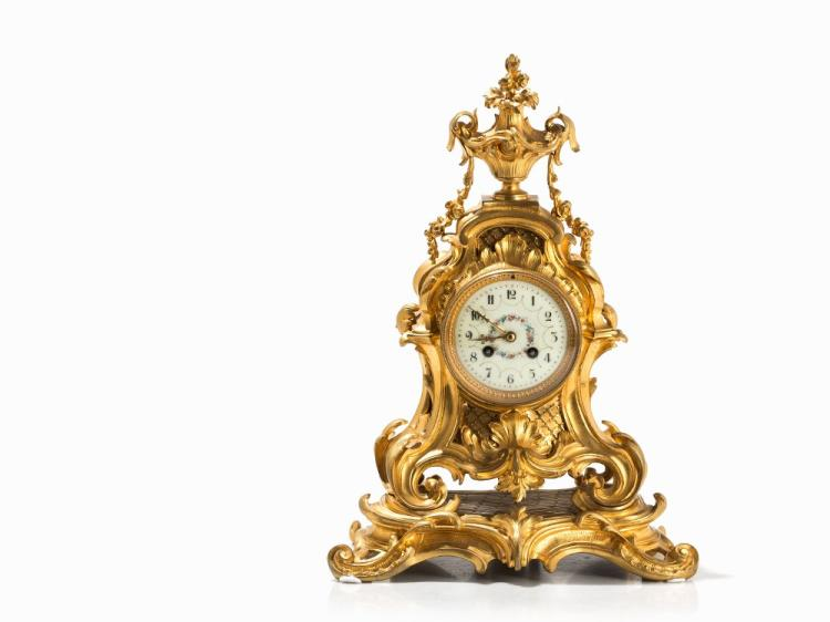 A Rococo Style Mantle Clock, Presumably France, c. 1880
