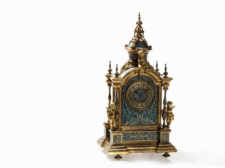 Second Empire Mantel Clock, Cloisonné Enamel, France, c. 1900