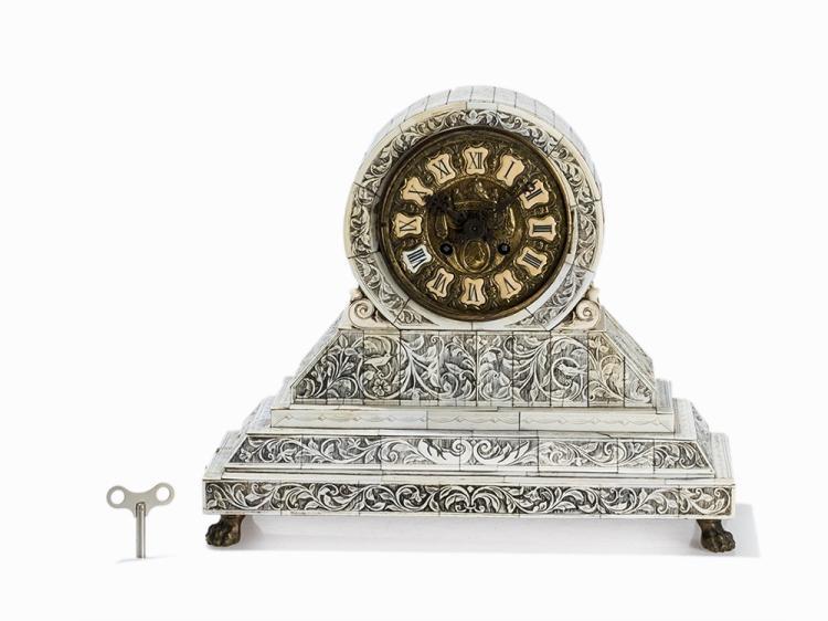 A Florally Engraved Bone Veneered Mantel Clock, France, c. 1850