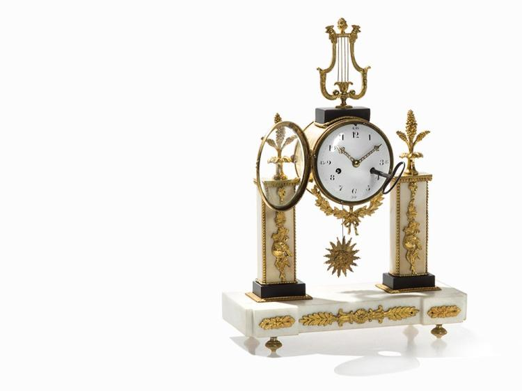 A Louis XVI Portico Clock with Lyre Crest, France, late 18th C