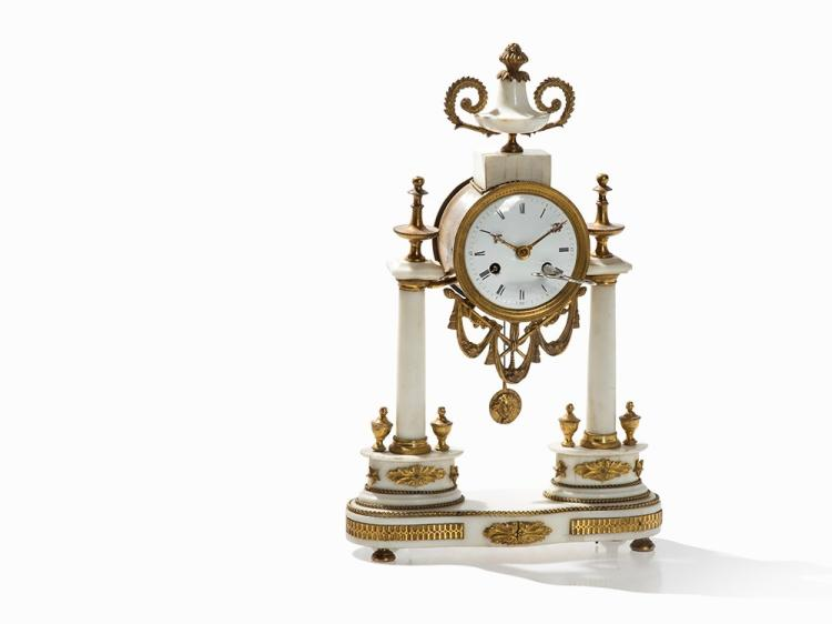 A Louis XVI Portico Clock with Vase Crest, France, late 18th C.