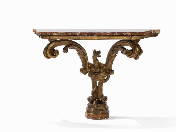 A Console Table with Marble Plate, Italy, 18th C.