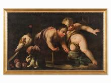 Putti with Bird Cage, Animals and Fruit, Oil Painting, c. 1700
