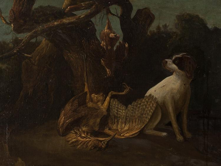 Still Life with Hound, Oil Painting, Flemish School, c. 1700