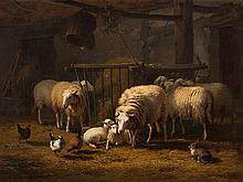 Eugène Verboeckhoven, Sheep in the Barn, Oil, 1876