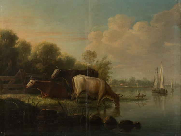 Landscape with Cows, Oil Painting, Dutch, 19th Century