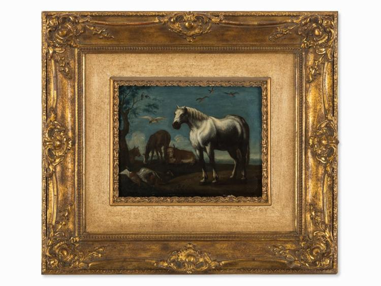 Follower of Jan I van den Hecke, Horses and Bulls, Oil, 18th C