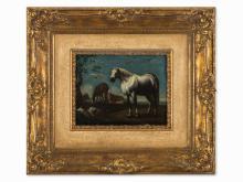 Follower of Jan I van den Hecke, Horses and Bulls, Oil, 18th C
