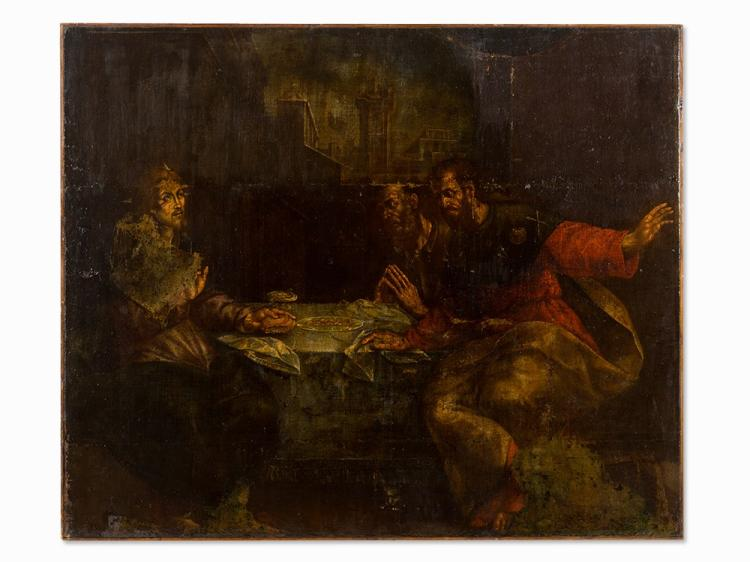 Flemish School, Supper in Emmaus, Oil, c. 1700