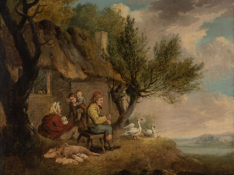 After George Morland, Basket Weaver's Family, Oil, 1st H.19th C