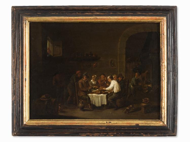 Follower of David Teniers II, Peasants in a Tavern, Oil, 19th C