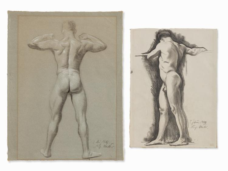 Richard Müller, 2 Male Nudes, Drawings, 1927-1928