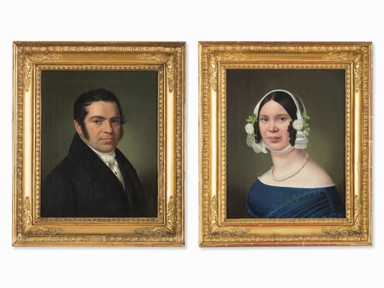 BiedermeierWedding Portraits, Pair of Paintings, around 1840