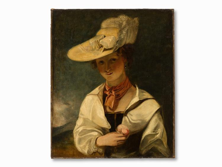 Portrait of a Young Lady with a Hat, Oil, 19th C.