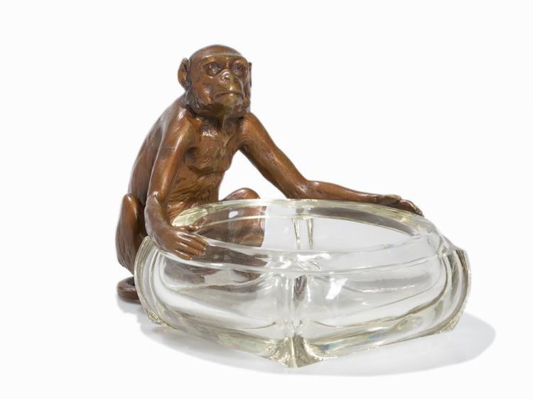 Vienna Bronze Ashtray 'Monkey', Vienna, Early 20th Century