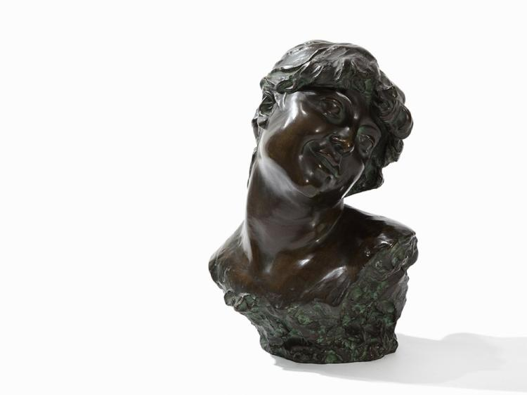Jef Lambeaux, Bust of a Young Woman, Bronze Figure, 1885