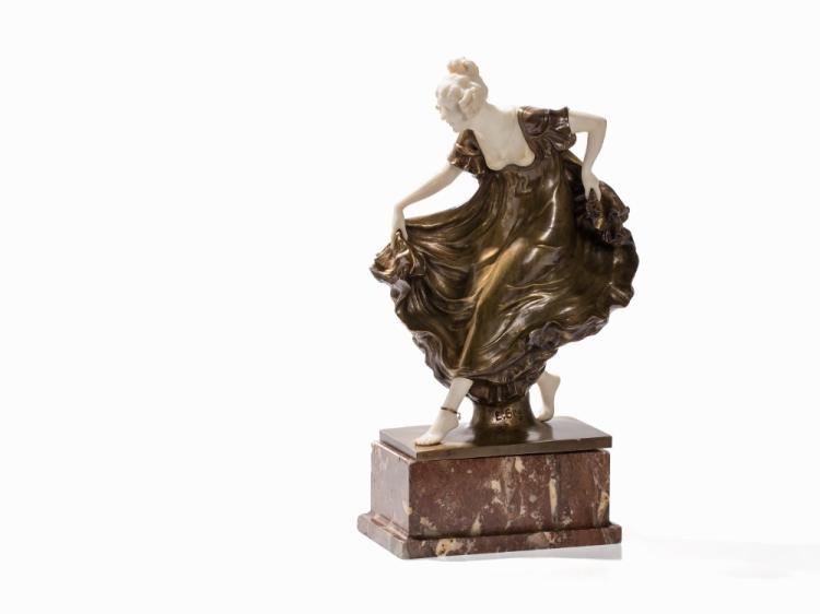 Ernst Seger, Debutante, Bronze & Marble, Germany, E. 20th C.