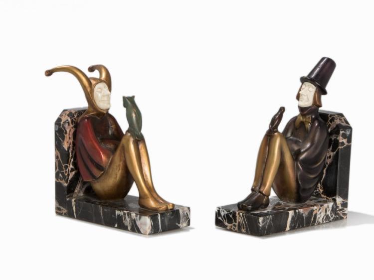 R. Paris, A Pair of Chryselephantine Bookends, German, c. 1930
