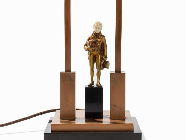 J. P. F. Preiss, Chryselephantine Figure Lamp, Gemany, c. 1920