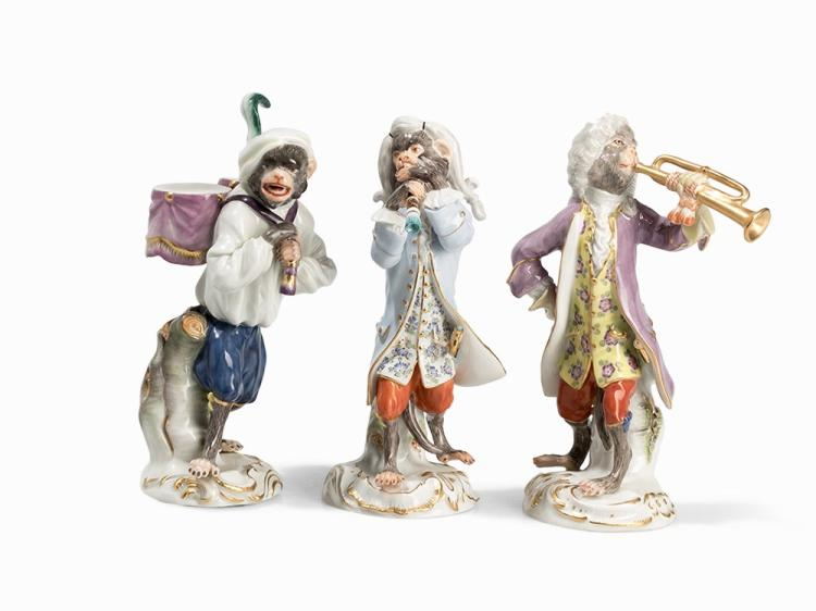 Meissen, 3 Figures from the 'Affenkapelle', 2nd H. 20th C.