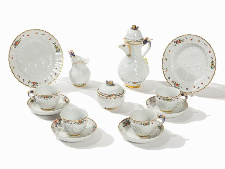 9 Pieces from the Swan Service, Meissen, 2nd H. 20 C.