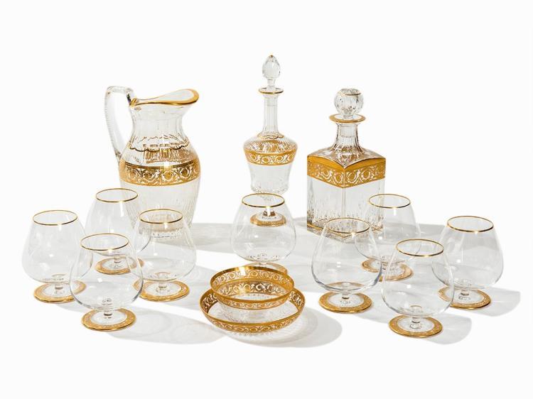 Saint-Louis, Glas Set 'Thistle Gold', 13 Pieces, 20th C.