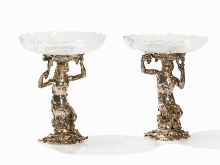 Pair of Silvered Bacchants Centerpieces, France, circa 1900