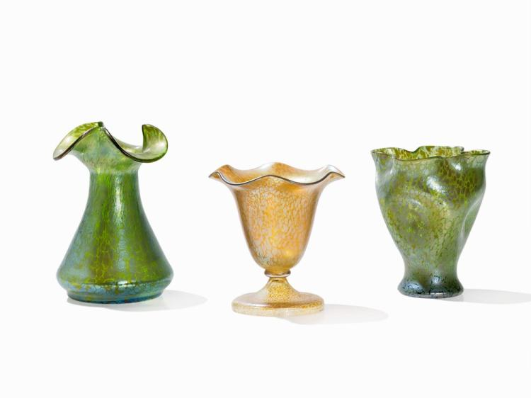 Loetz Witwe, Three Vases with Papillon Décor, Bohemia, C. 1900