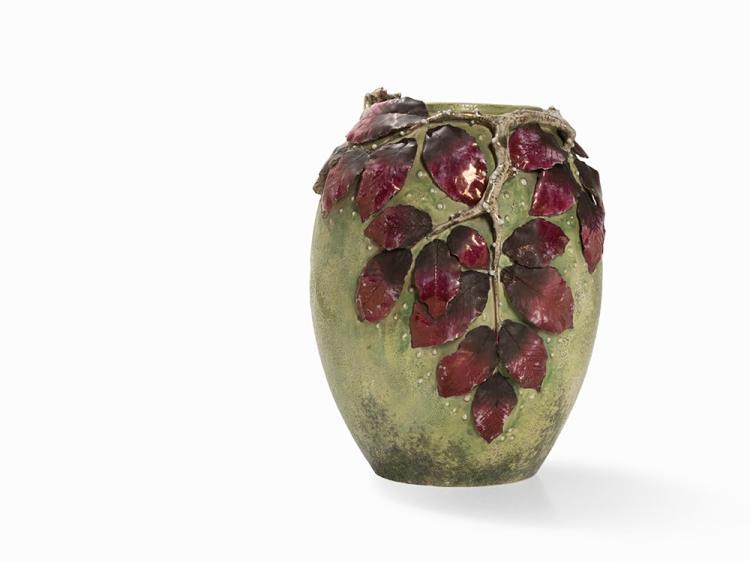 Paul Dachsel, Vase with Leafage, Ceramics, Bohemia, E. 20th C.