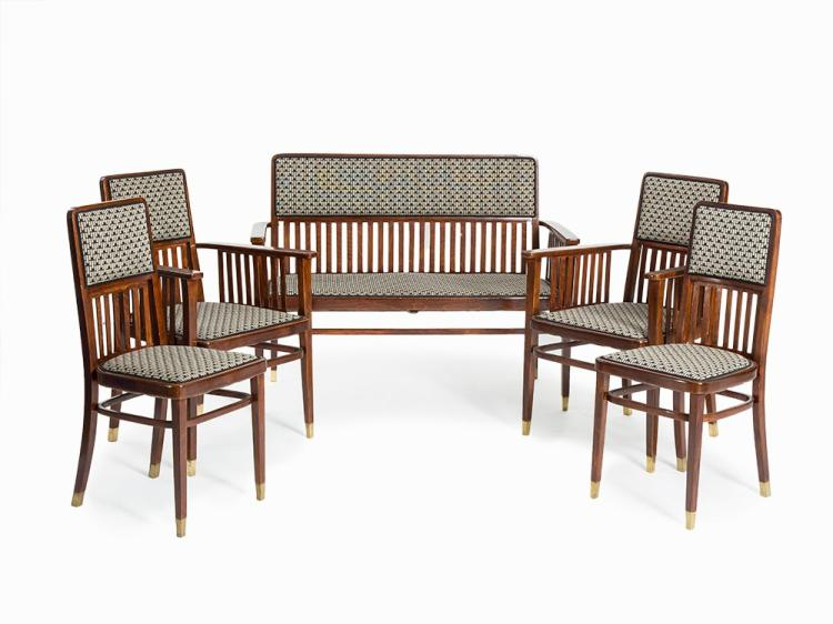 J. & J. Kohn, Bench with 2 Armchairs & 2 Chairs, circa 1905