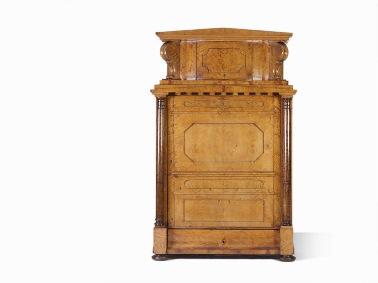 Biedermeier Cabinet in Secrétaire á Abattant Style, c. 1820
