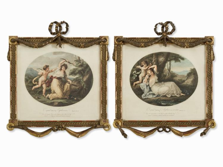 A Pair of Louis XVI-Style Frames with Engravings, France, 19thC