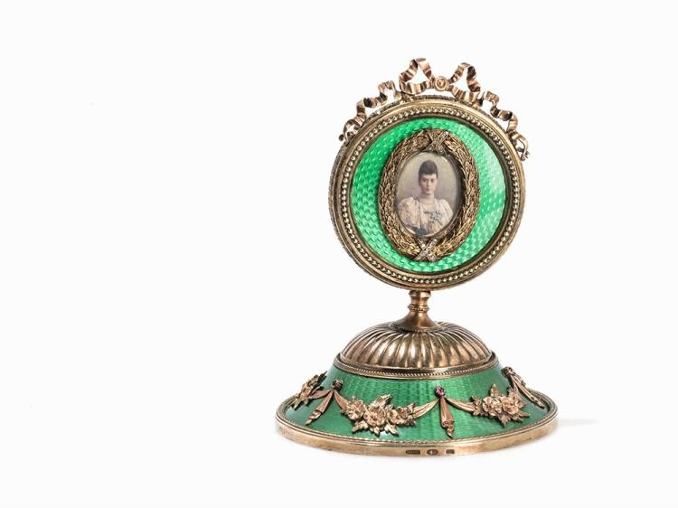Fabergé Style, Small Table Frame, Silver & Guilloche Enamel