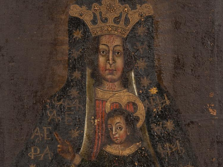 Miraculous Image 'Maria vom Blut', Oil, Bohemia, 18th/19th C.