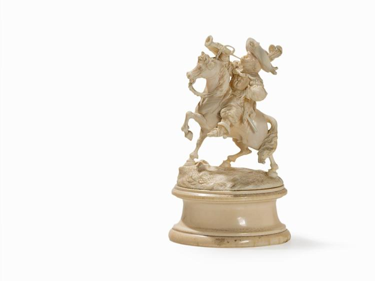 Horseman with Fanfare, Ivory Carving, End of 19th C.