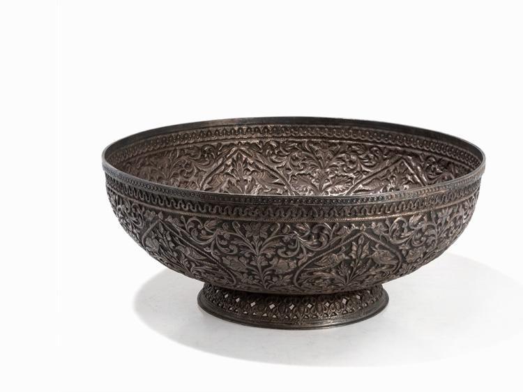 A Large Silver-Bowl with Floral Repoussé, India, c. 1900