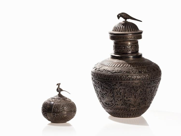 A Repoussé Silver-Lidded Vessel and Spice  Box, India, 19th C