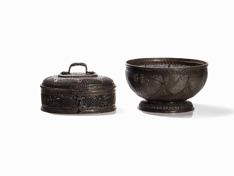 Ornamentally Pierced Silver-Vase and -Box, India, c. 1900