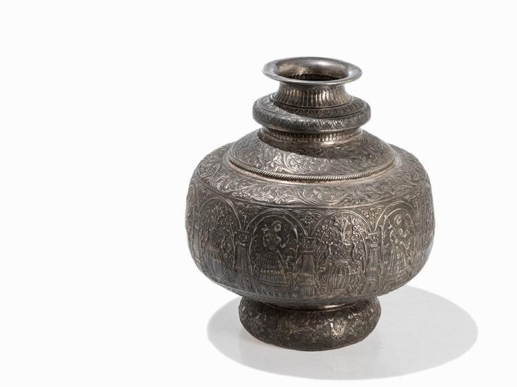 Large Silver Repoussé Vase, India, 19th C.