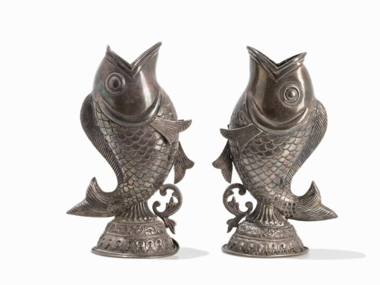Pair of Silver Vases in Fish Shape, India, 19th C.