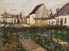 Carl Jörres, Oil Painting Gardens and Houses in Autumn, c. 1925