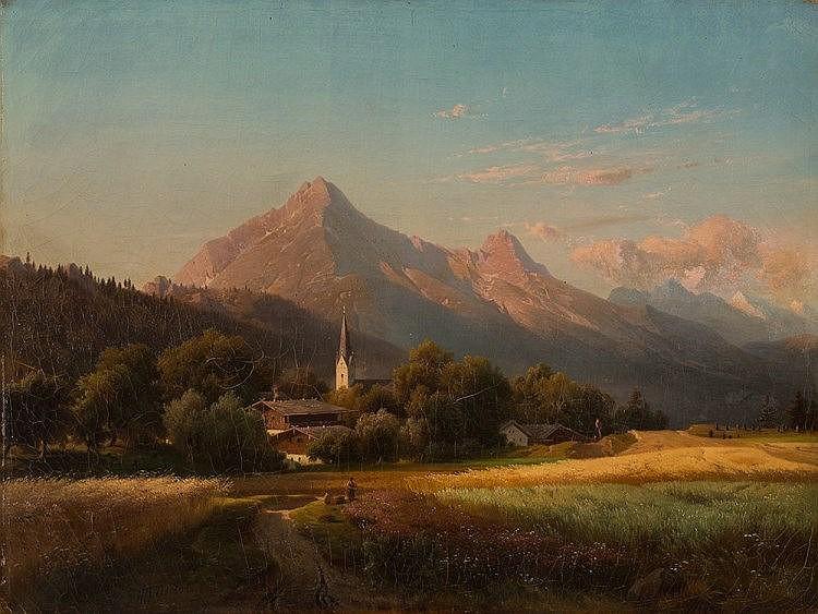 Adolf Nickol (1824-1905), Alpine Landscape, Oil, c. 1880