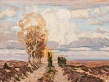 Carl Jörres, Painting, Country Road in the Luneburg Heath, 1942