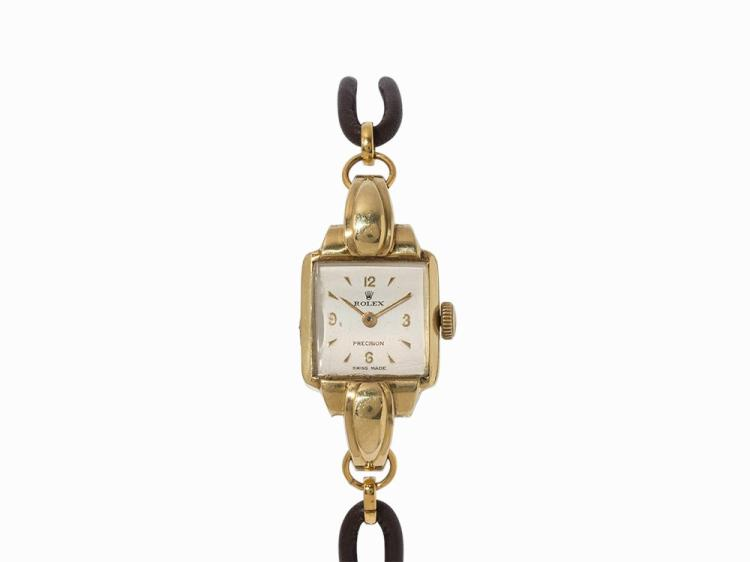 Rolex Precision Ladies' Watch, 18K Gold, Switzerland, 1940s